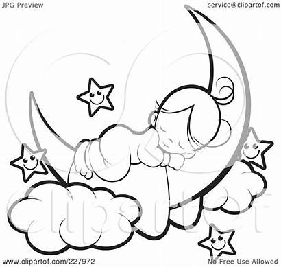 Sleeping Moon Coloring Stars Outline Crescent Bear