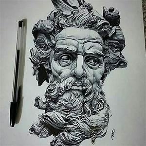 Repost from @motiveartco - Poseidon pen drawing by artist ...