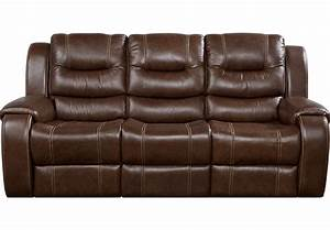 Veneto Brown Leather Power Reclining Sofa - Leather Sofas