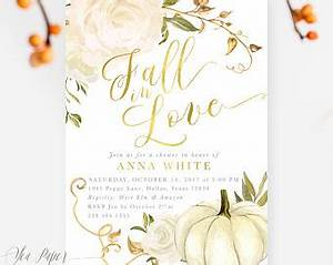 Fall bridal shower invitation fall wedding shower invitation for Gold pumpkin wedding invitations