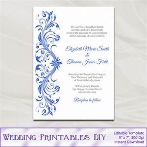 royal blue wedding invitations template diy printable With free printable wedding invitations royal blue