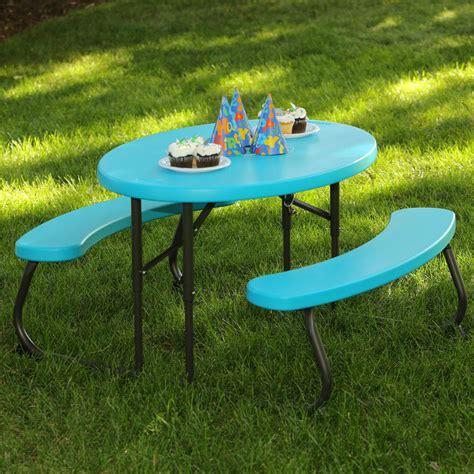 lifetime folding picnic table lifetime oval 1 piece glacier blue kids picnic folding