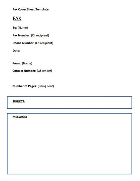 fax cover page template 6 printable fax cover sheet templates sles sle templates
