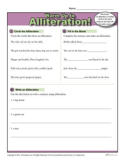 Alliteration Warm Up Activity  Figurative Language Worksheets