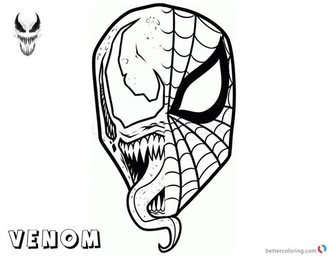 venom coloring pages spiderman  venom mask