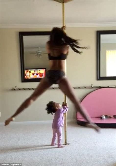 video shows pole dancing  year  copying  mother