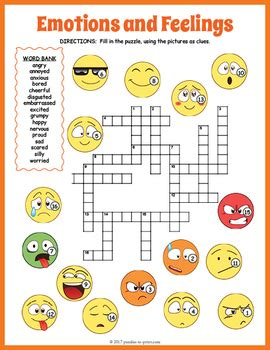 Feelings And Emotions Crossword Puzzle By Puzzles To Print Tpt