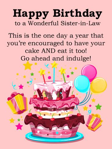 birthday cake cards  sister  law birthday