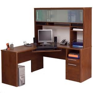 cheap bestar monaco home office l shape corner wood computer desk set with hutch in tuscany