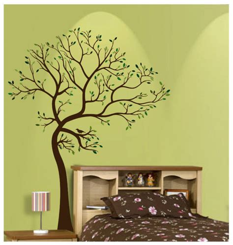 matte material large tree brown green wall decal art