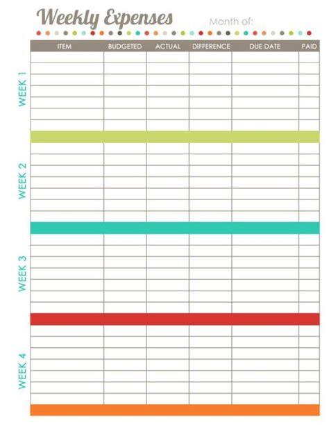 brilliant   monthly budget template printable