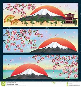 Set Of Horizontal Banners Japanese Style Royalty Free ...
