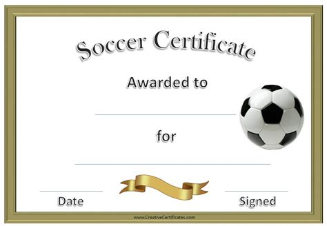 13 Free Sample Soccer Certificate Templates