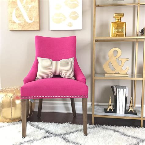 stylishpetite pink accent chair gold shelves