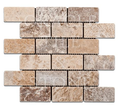 travertine brick andean cream travertine 2 x 4 brick mosaic tile oracle tile stone