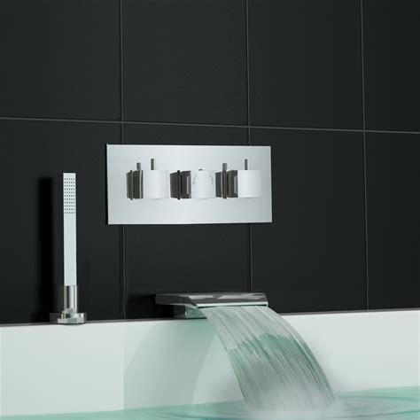 Wall Mounted Bath Filler And Shower by Concealed Thermostatic Shower Mixer Waterfall Bath Filler