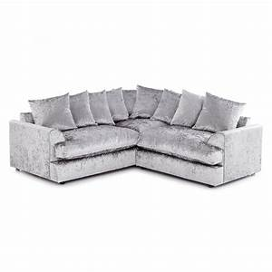 jasper crushed velvet 5 seater sofa silver grey With silver velvet sectional sofa