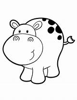Hippo Coloring Pages Baby Hippopotamus Printable Clipart Cute Drawing Cartoon Hippos Colouring Clip Library Animals Cat Template Animal Drawings Kid sketch template