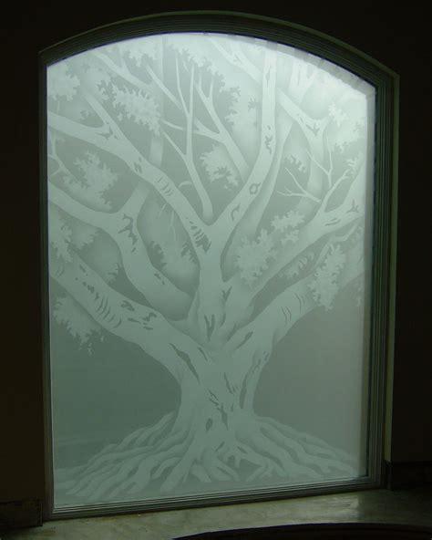 tuscan bathroom designs oak tree glass window etched glass rustic design
