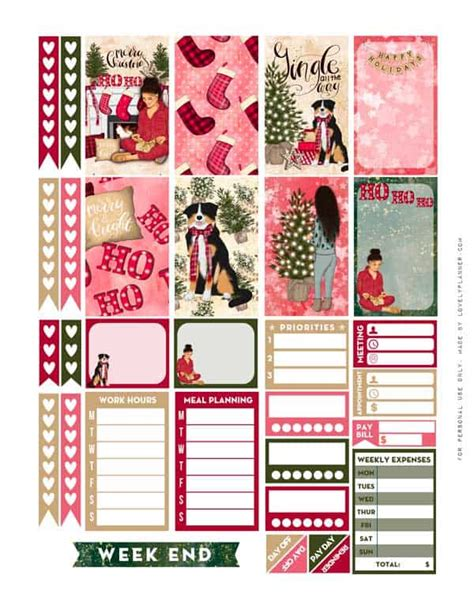 girly christmas planner stickers weekly kit  printable
