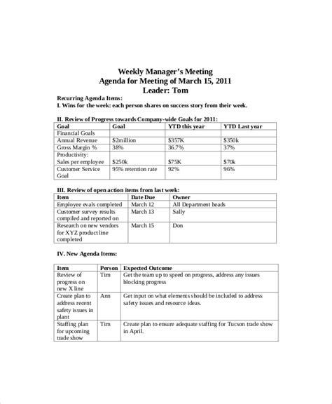 Weekly Meeting Calendar Template by 12 Weekly Meeting Agenda Templates Free Sle Exle