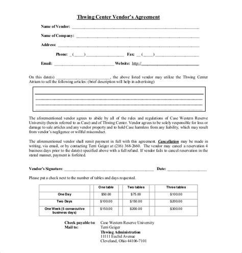 sample vendor agreement templates