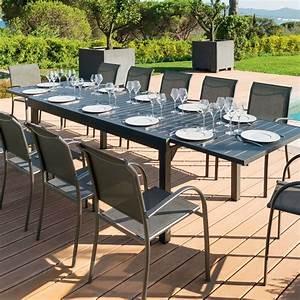 Table Jardin Design : table de jardin extensible aluminium piazza 320 x 100 cm graphite table de jardin eminza ~ Melissatoandfro.com Idées de Décoration