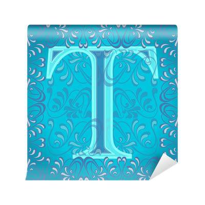 foto de Fotomural Letra t azul turquesa decorada tiene • Pixers