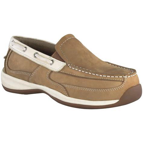 rockport boat shoes womens s rockport works 174 steel toe slip on boat shoes