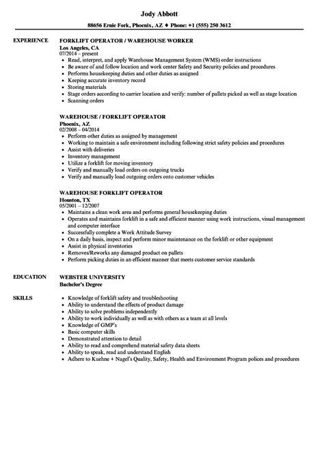 forklift resume sle resume ideas