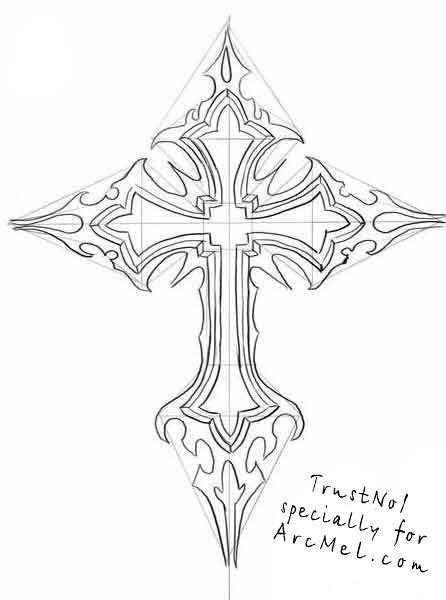 how to draw a rose with a cross step by step - Google Search | Places to Visit | Celtic cross