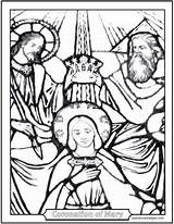 Mary Coloring Crowning Coronation Heaven Queen Earth Saint Rosary Stained Catholic Glorious Saints Holy Jesus Lady God Mysteries Saintanneshelper Prayer sketch template