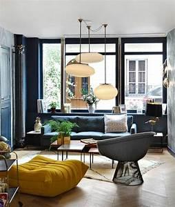 1001 idees creer une deco en bleu et jaune conviviale With idee deco cuisine avec petit fauteuil style scandinave