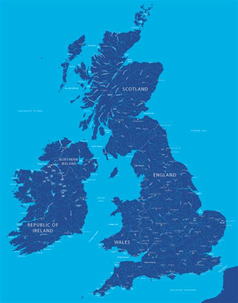 Britain and Ireland river map - royalty free editable map