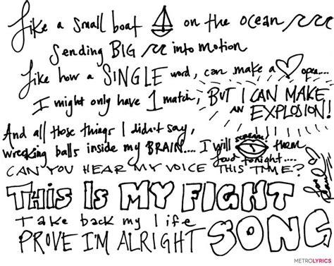 Enter To Win Handwritten #fightsong Lyrics From Rachel