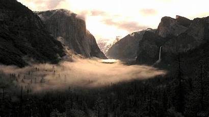 Waterfall Fog Clouds Mountains Trees Sky Landscape