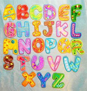 Boys girls alphabet letters embroidered motif fabric iron for Embroidered alphabet letters
