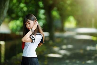 Uniform Asian Sailor Schoolgirl Portrait Brunette Looking