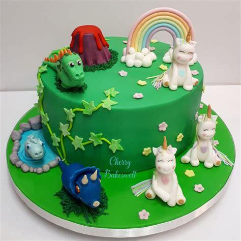 Dinosaur Unicorn cake for twins. #twins #twinsbirthday # ...