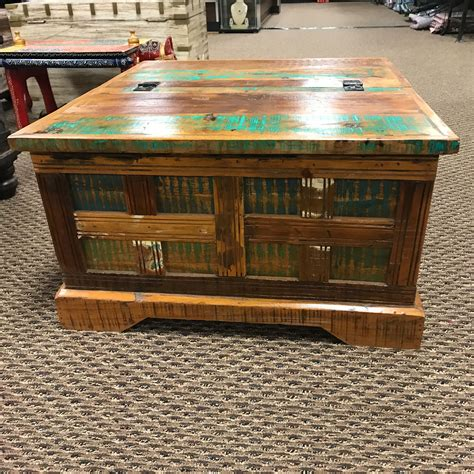 These storage chest coffee table are offered in various shapes and sizes ranging from trendy to classic ones. Rustic Reclaimed Wooden Square Coffee Table Storage Trunk ...
