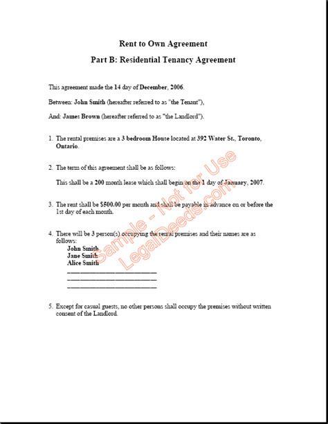 rent   agreement  ontario sample image