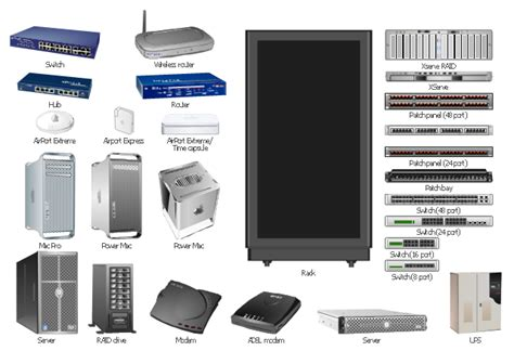 Server Hardware Rack Diagram Vector