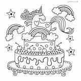 Unicorn Cake Rainbow Colouring Sheet Coloring Pdf sketch template