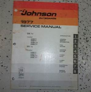 1977 Johnson Outboards 25 35 Hp 35hp Models Service Shop