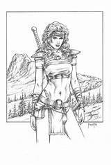 Mitchfoust Coloring Deviantart Adult Fantasy Foust Elf Mitch Shield Wood Colouring Savage Maiden Warrior Drawings Sword Barbarian Afkomstig Uploaded sketch template
