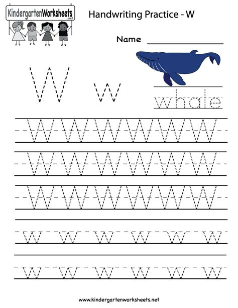kindergarten letter w writing practice worksheet printable 918 | 685b85b5bc6f98ea85460eb580ece6d4