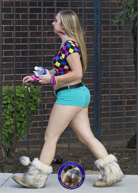 slightly chubby teen bubble ass in booty shorts and furry boots 2013 music fest ii