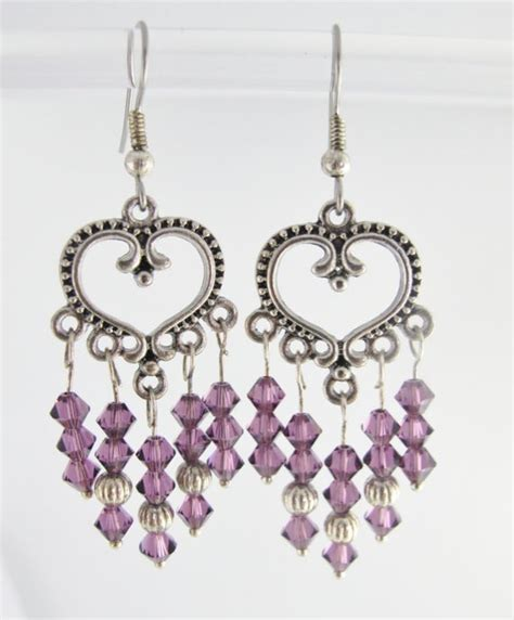 purple chandelier earrings purple chandelier earrings swarovski crystals amethyst