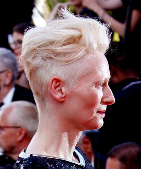 tilda swinton casual short wavy mohawk hairstyle light