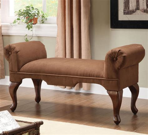 acme furniture aston traditional rolled arm bench with